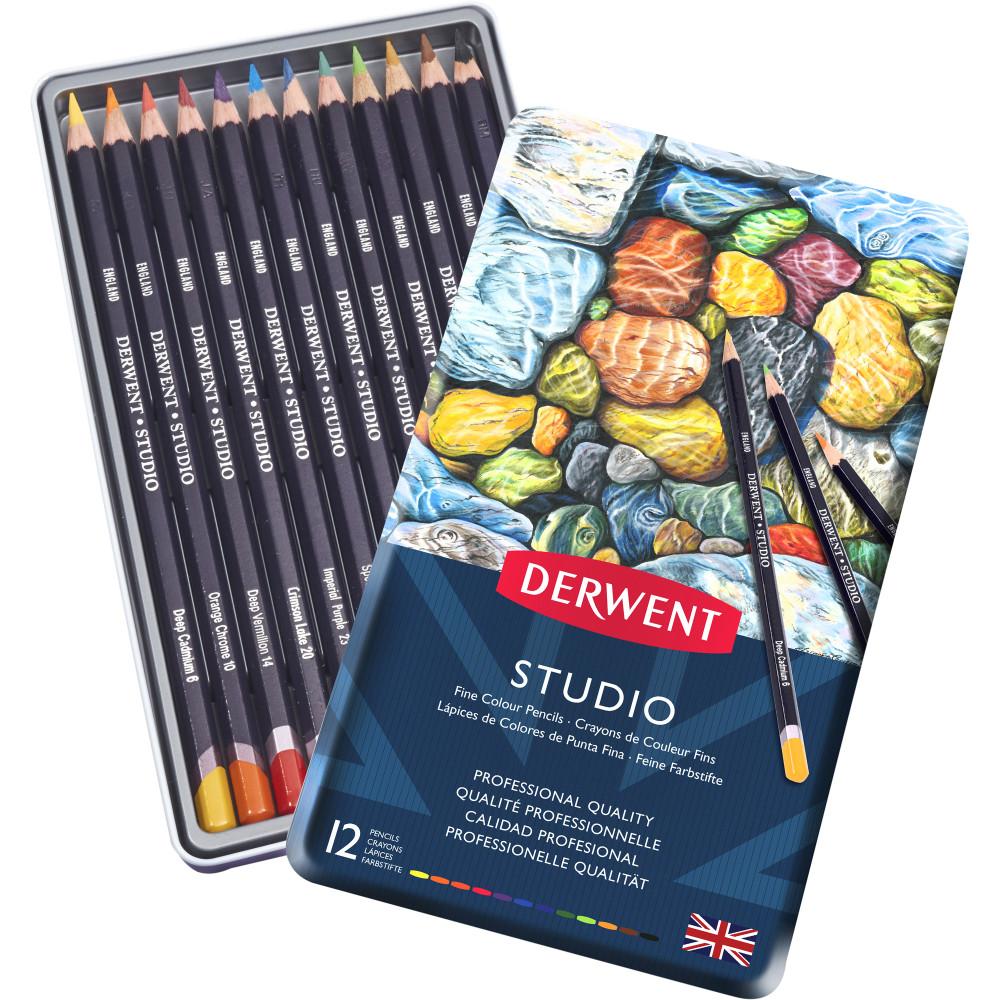 Derwent R32196 Studio 12 Pencils Assorted Tin Pack Of 12