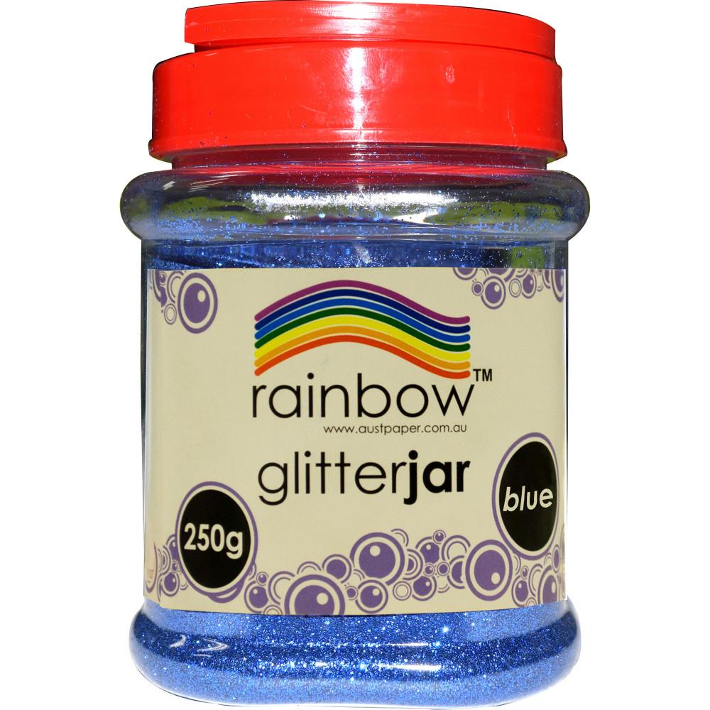 Rainbow Glitter Jar 250G Blue