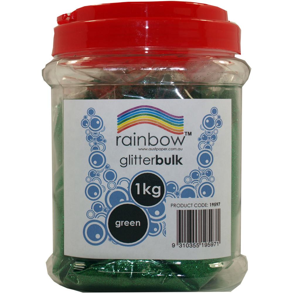 Rainbow Glitter Bulk 1Kg Jar Green