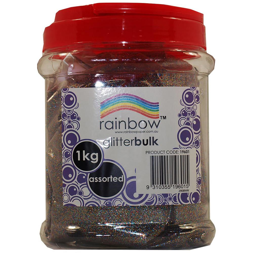 Rainbow Glitter Bulk 1Kg Jar Assorted
