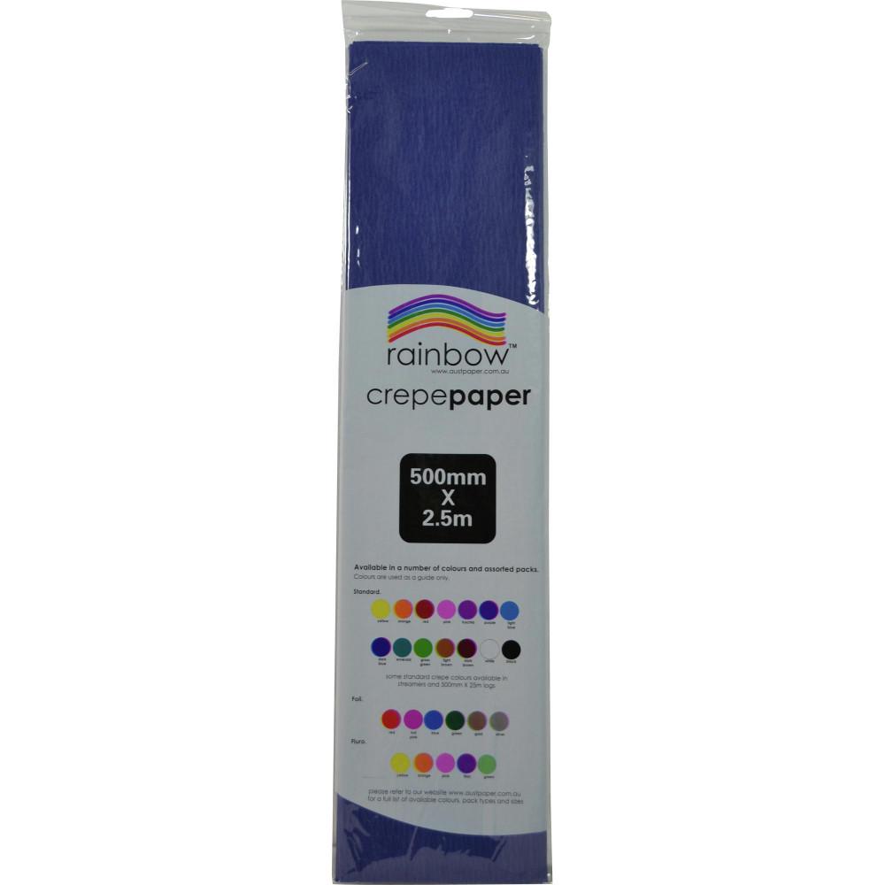 RAINBOW CREPE PAPER 500mmx2 5m Dark Blue Pack of 12
