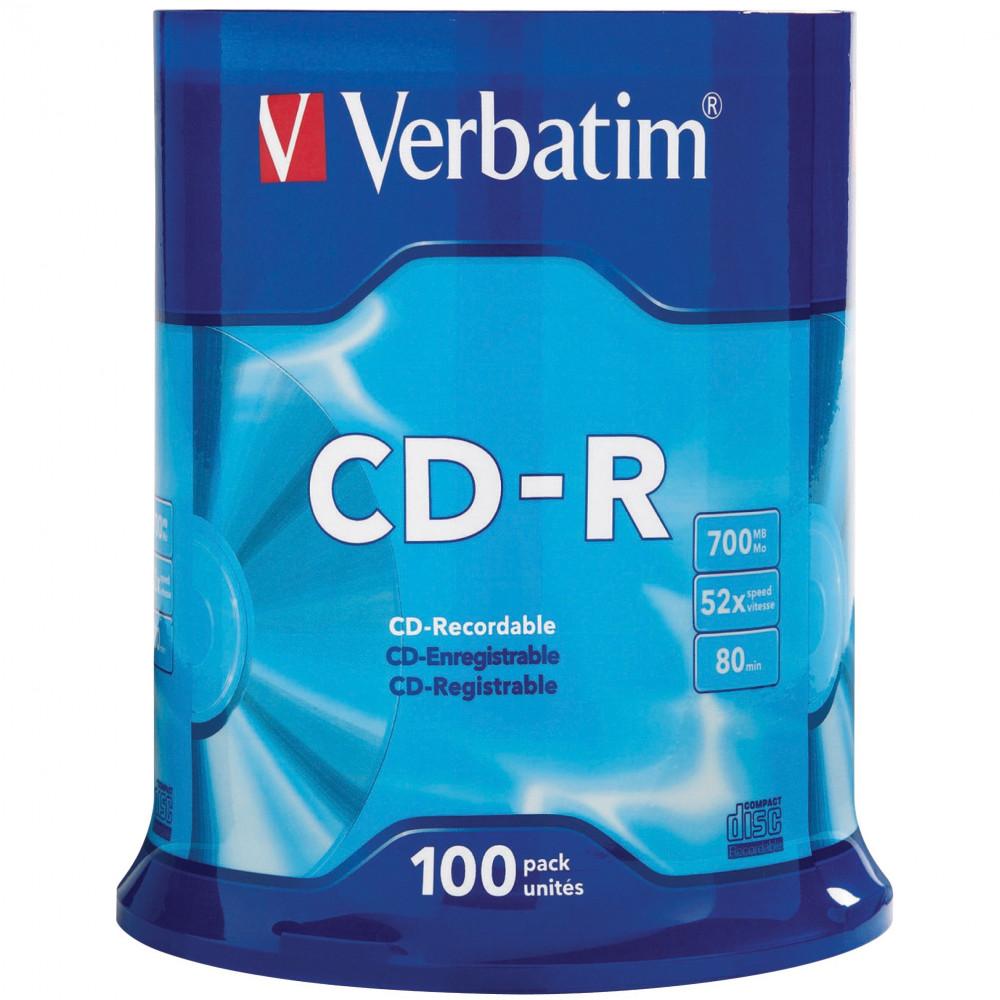 VERBATIM RECORDABLE CD-R 52X 80Min 700MB 100 Pack
