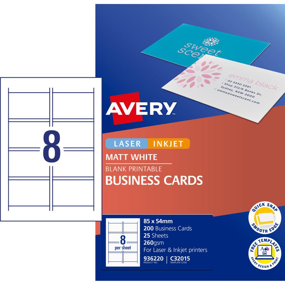 Avery Business Cards Laser Inkjet Labels Matt White Pack of 25 (200)