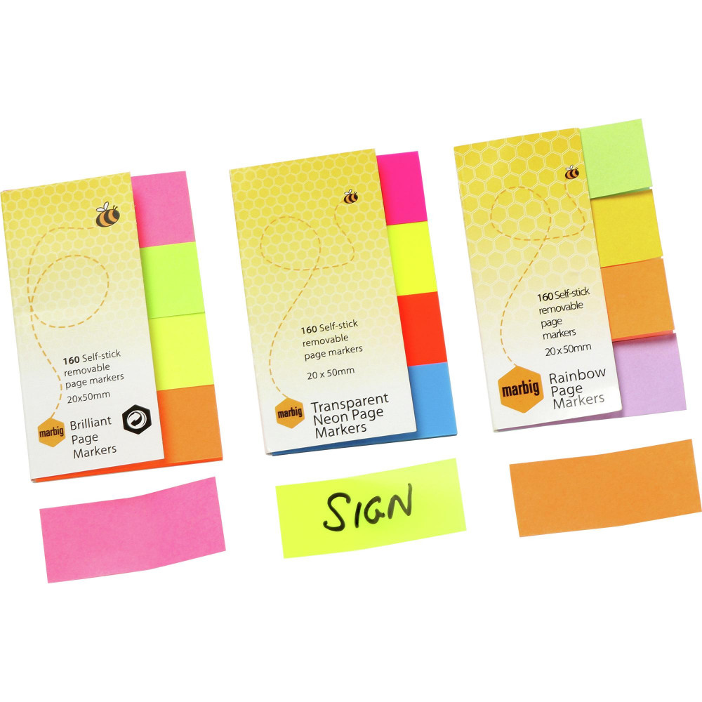 Marbig Colour Page Markers 20x50mm Rainbow Assorted Pack Of 4 Pads