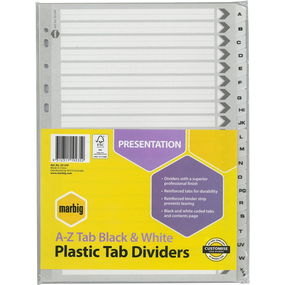 Marbig Plastic Divider A4 Reinforced A-Z Tab Black