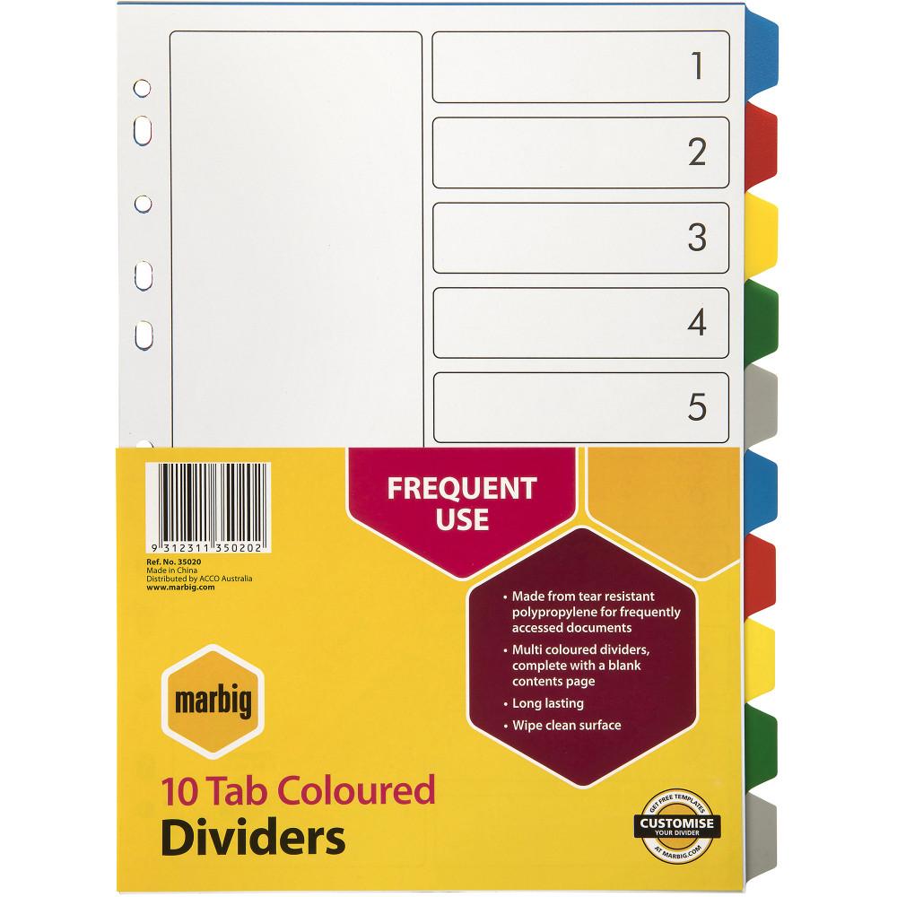 Marbig Plastic Divider A4 10 Tab Multi Colour