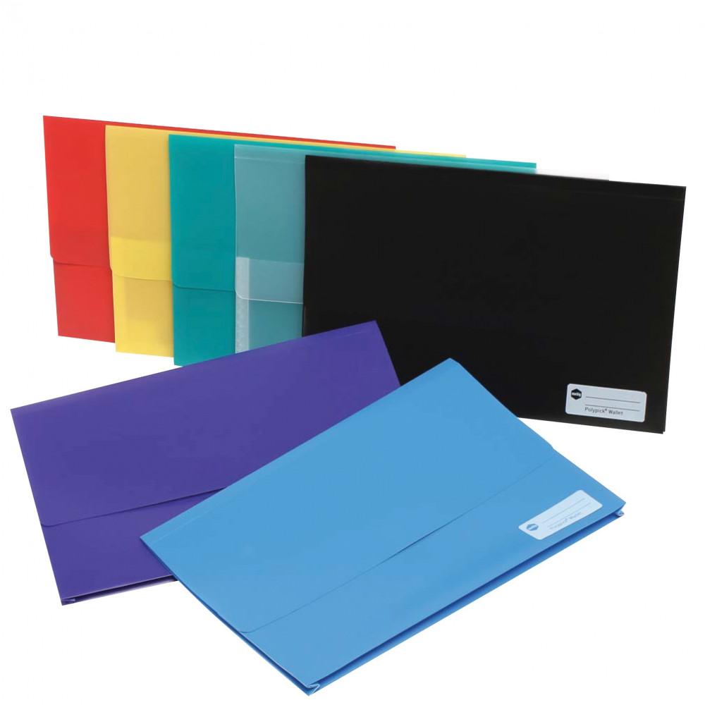 Marbig Polypick Document Wallet Foolscap 25mm Gusset Blue