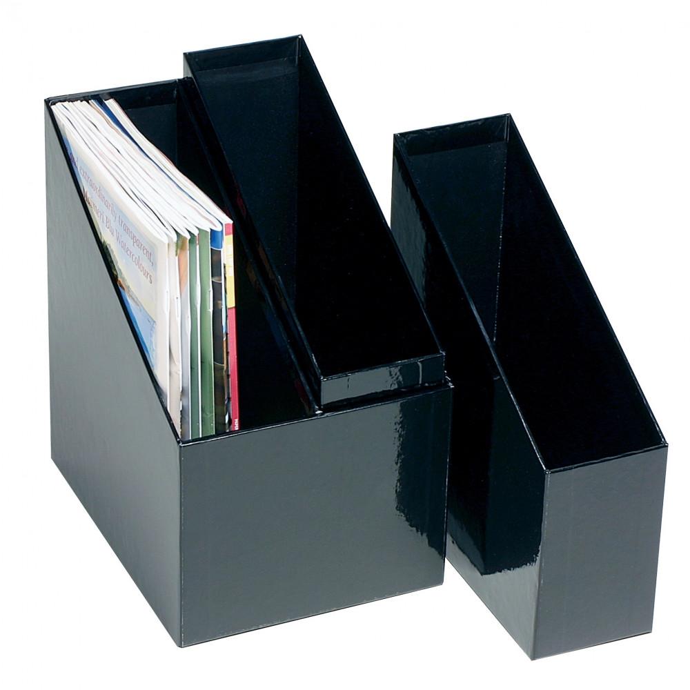 Marbig Magazine Holders Simple Storage 1 Twin 2 Single Black Set Of 3