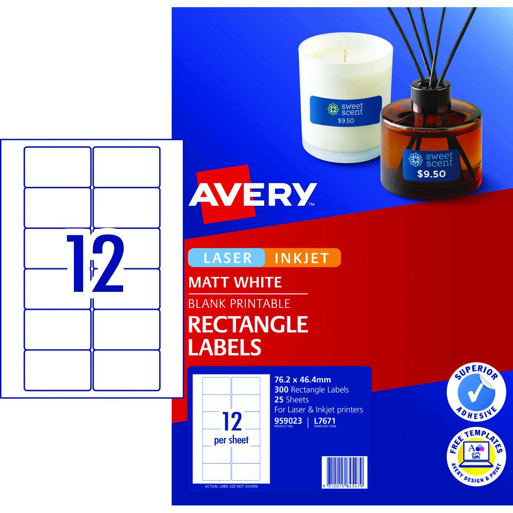 Avery Multi-Purpose Laser & Inkjet Labels L7671 76.2x46.4 White 300 Labels, 25 Sheets