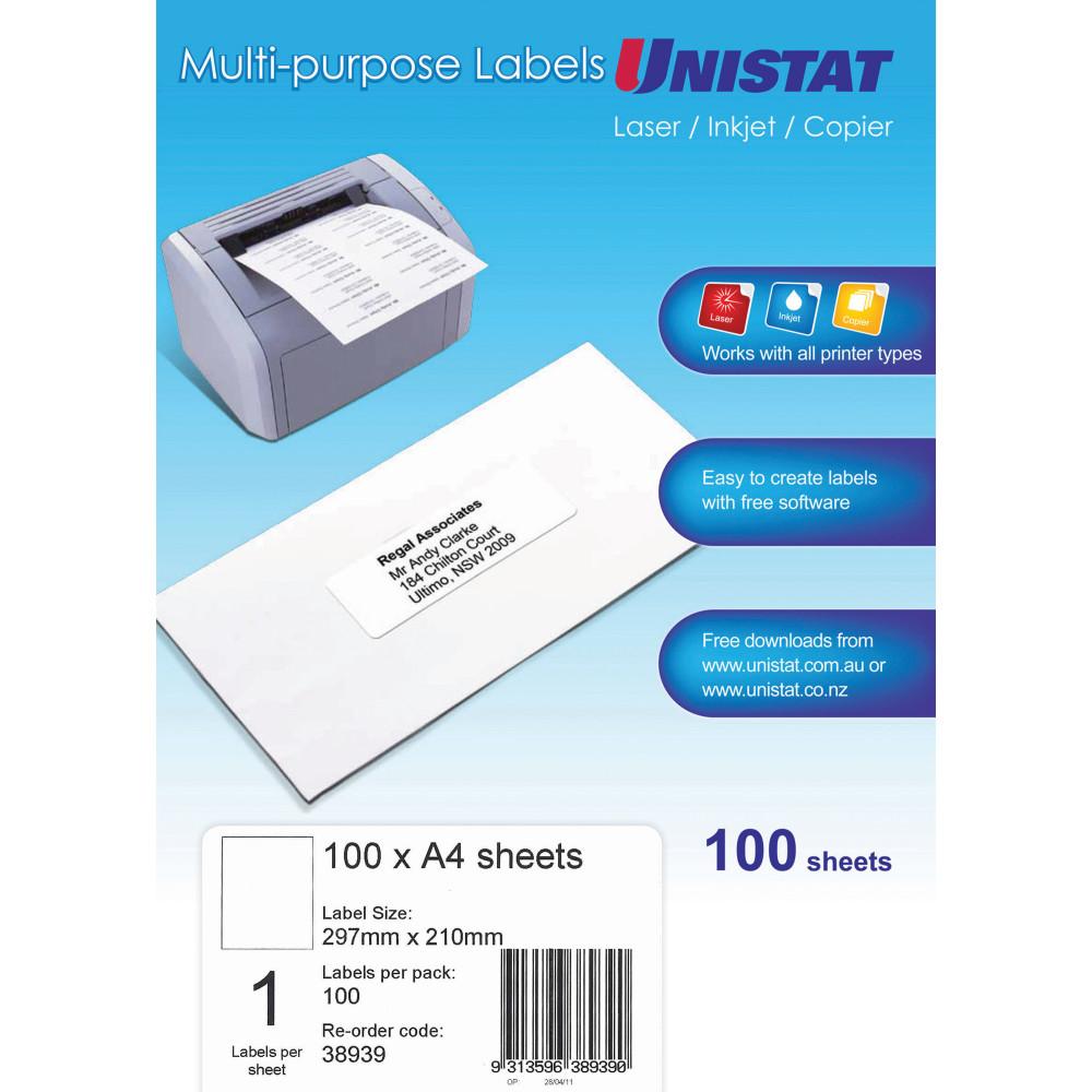 Unistat Laser Copier & Inkjet  Labels 297x210mm 100 labels, 100 sheets