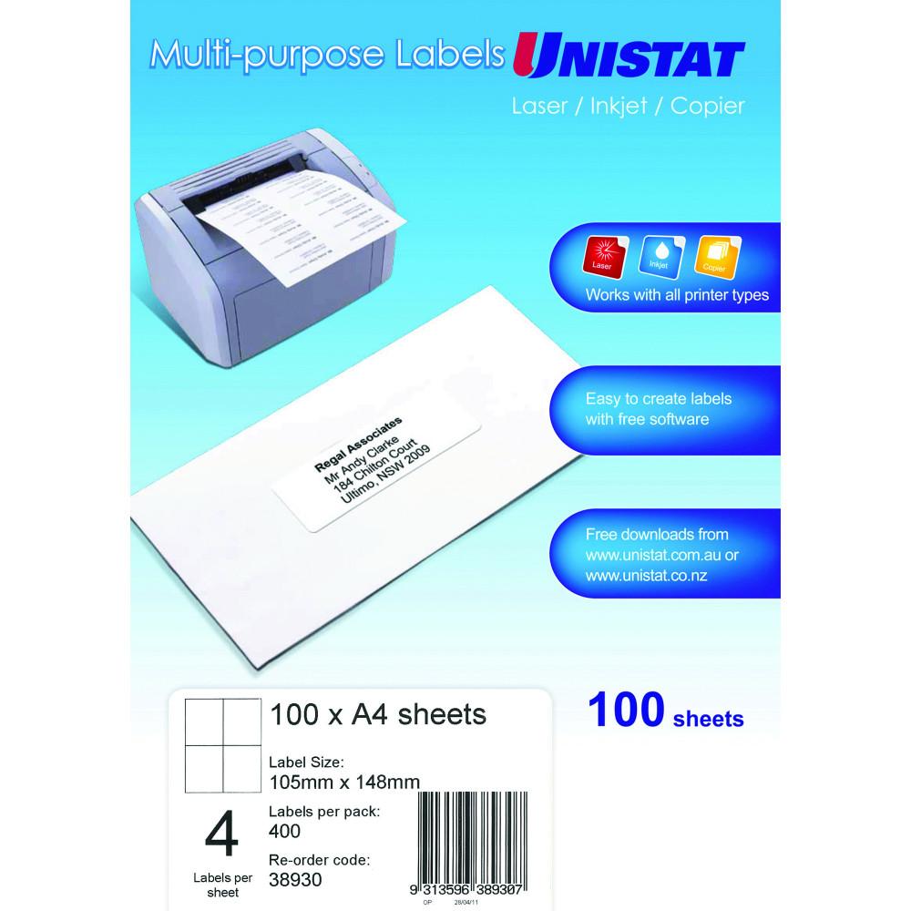 UNISTAT LASER/INKJET LABELS Copier 4 UP 105 x 148mm Box of 100