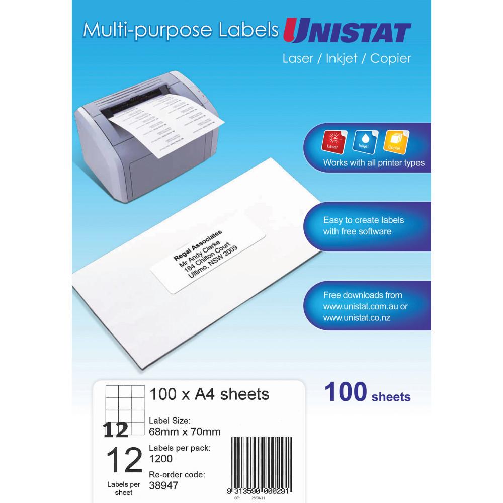 Unistat Laser Copier & Inkjet  Labels 68x70mm 1200 Labels, 100 Sheets