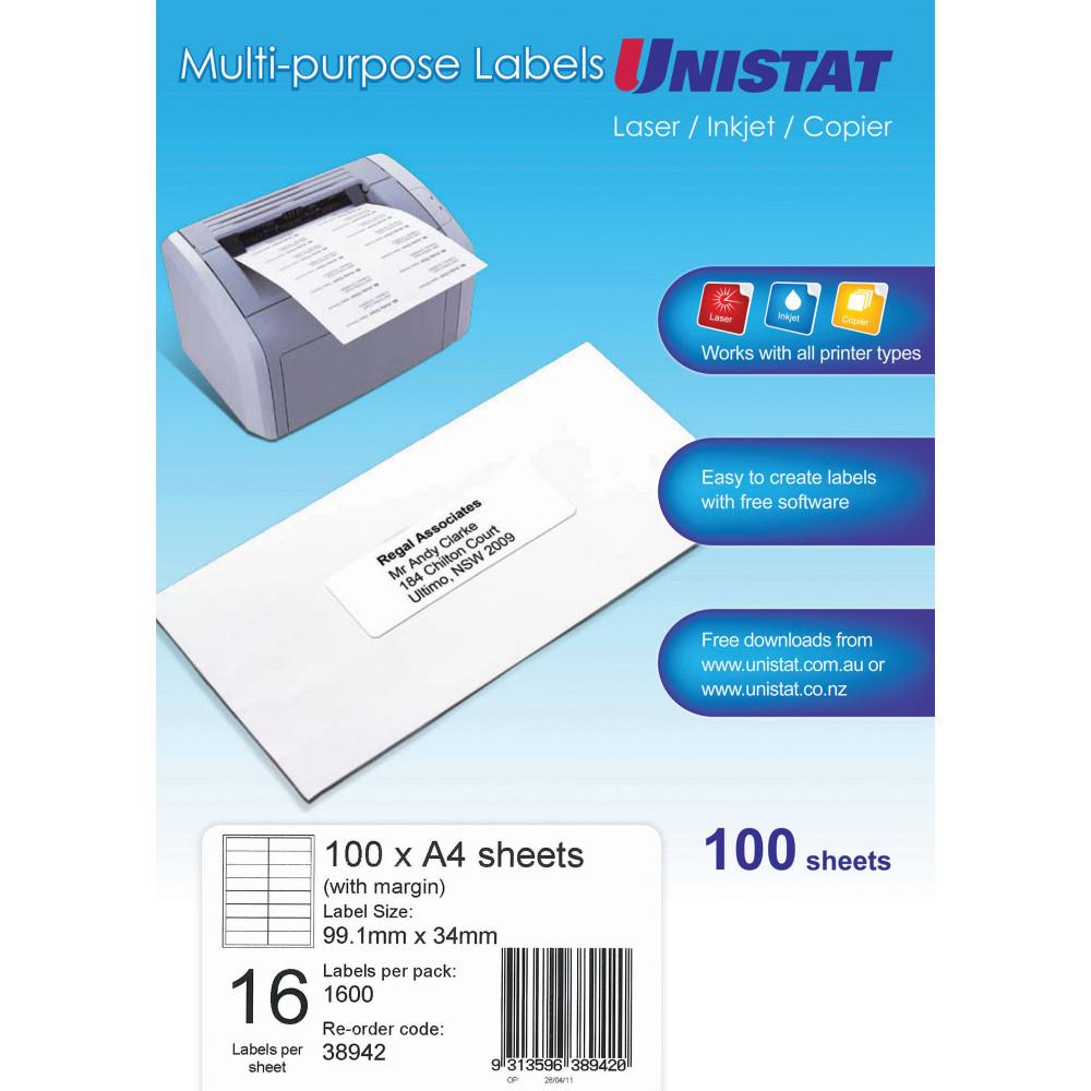 Unistat Laser Copier & Inkjet  Labels 99x38mm with Margin 1600 Labels, 100 Sheets