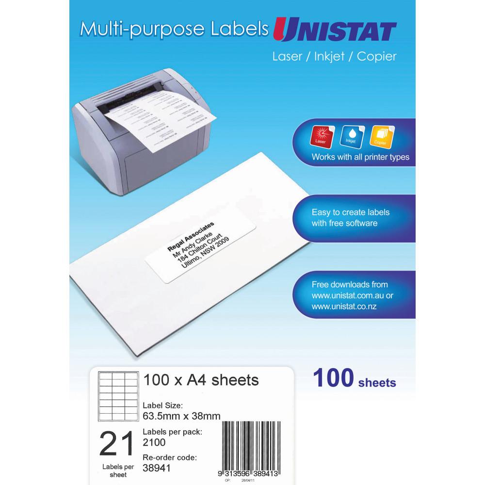 Unistat Laser Copier & Inkjet Labels 63.5x38mm 2100 labels, 100 sheets