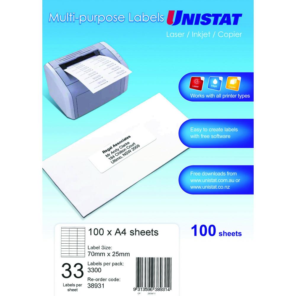 Unistat Laser Copier & Inkjet  Labels 70x25mm 3300 Labels, 100 Sheets