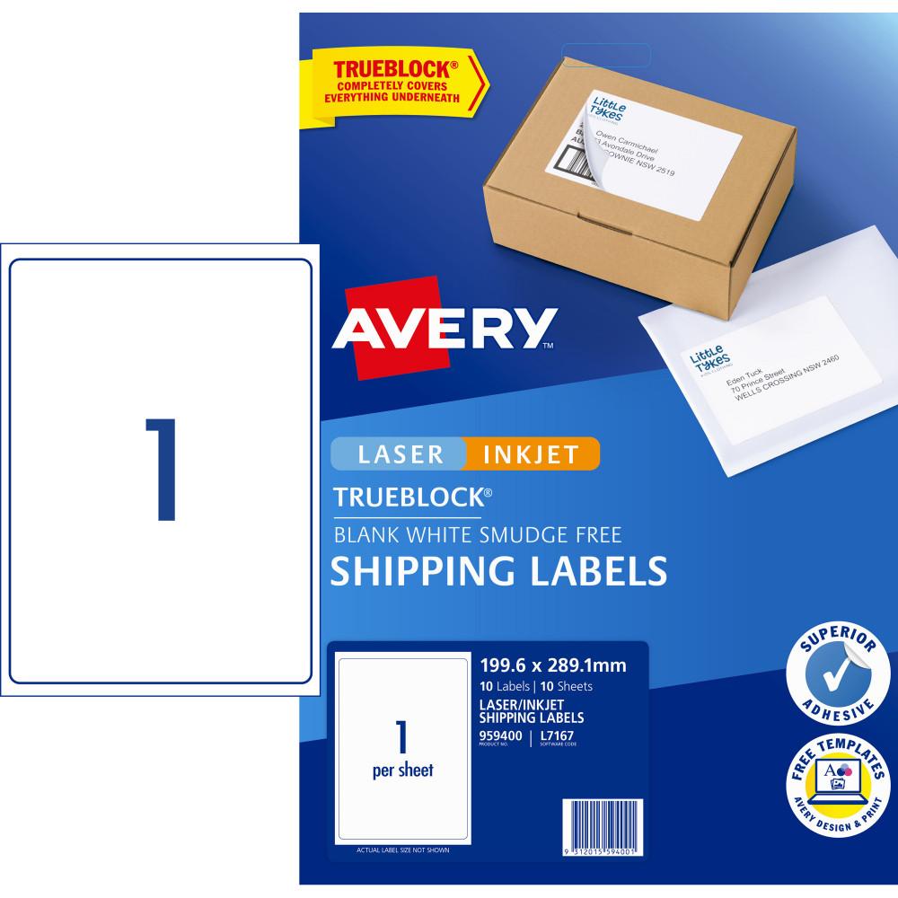 Avery Internet Shipping Laser & Inkjet Labels L6167 199.6x 289.1 White 10 Label 10 Sheets