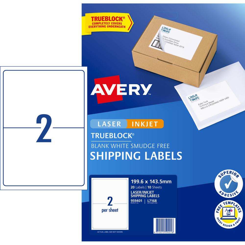 Avery Internet Shipping Laser & Inkjet L7168 199.6x143.5mm White 20 Labels, 10 Sheets