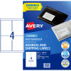 Avery Weatherproof Shipping Laser Label L7071  99.1x139 mm White 40 Labels, 10 Sheets