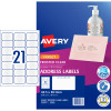 Avery Inkjet Frosted Clear Label 21UP 63.5x38.1mm 525 Labels, 25 Sheets