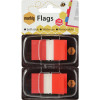 Marbig Flags Coloured Tip Twin Pack 25x44mm 50 sheet per pack Red Pack Of 2