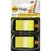 Marbig Flags Coloured Tip Twin Pack 25x44mm 50 sheet per pack Yellow Pack Of 2