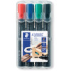 Staedtler 352 Lumocolor Permanent Marker Bullet 2mm Assorted Wallet of 4