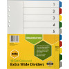 Marbig Plastic Divider A4 Extra Wide 10 Tab Multi Colour