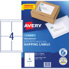 Avery Shipping Laser Labels L7169 99.1x139mm White 400 Labels, 100 Sheets