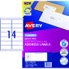Avery Quick Peel Address Laser Labels L7163 99.1x38.1mm White Pack of 100 (1400)