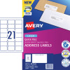 Avery Quick Peel Address Laser Labels L7160 63.5x3 8.1mm White Pack of 100 (2100)