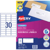 Avery Quick Peel Address Laser Labels L7158 64x26.7mm White Pack of 100 (3000)