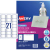 Avery Quick Peel Address Laser Labels L7560 63.5x38.1 Crystal Clear 525 Labels, 25 Sheets