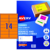 Avery High Visibility Shipping Laser Labels L7163FO 99.1x38.1 Orange 350 Labels, 25 Sheets