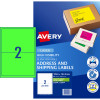 Avery High Visibility Shipping Laser Labels L7168FG 199.6x 143.5 Green 20 Label 10 Sheets
