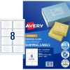 Avery Shipping Inkjet Labels J8565 99.1x67.7mm Frosted Clear 200 Labels, 25 Sheets