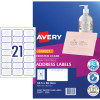 Avery Quick Peel Address Laser Inkjet Labels J8560 63.5x38.1 Clear 525 Labels, 25 Sheets
