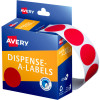 AVERY DMC24R DISPENSER LABEL Circle 24mm Red Pack of 500