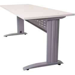 Rapid Span Open Straight Desk 1200Wx700mmD Modesty Panel White Top Silver Steel Frame
