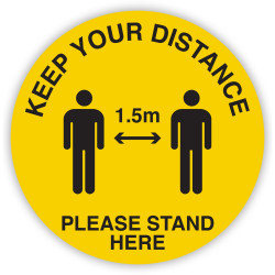 DURUS HEALTH AND SAFETY SIGN Floor Social Distance Yellow and Black