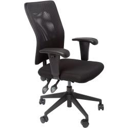 RAPIDLINE OPERATOR CHAIR Ergonomic Mesh Back Black Fabric Seat, Black Mesh