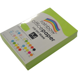 RAINBOW 80GSM OFFICE PAPER A4 Fluoro Green Ream of 500