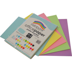 RAINBOW OFFICE PAPER A4 80GSM Pastel Assorted Pack of 100
