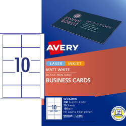 AVERY L7414 PERF BUSINESS CARD Laser/IJet White 20 Lbls/1 Sht Pack of 10 sheets