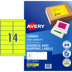 Avery High Visibility Shipping Laser Labels L7163FY 99.1x38.1 Yellow 350 Labels, 25 Sheets
