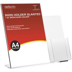 Deflecto Sign Holder Slanted A4 Sign Holder With Side Mount DL Brochure Holder Portrait
