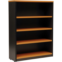 LOGAN BOOKCASE 1200X900 3 Shelf Beech & Ironstone