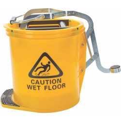 Cleanlink Heavy Duty Plastic Mop Bucket Metal Wringer 16L Yellow