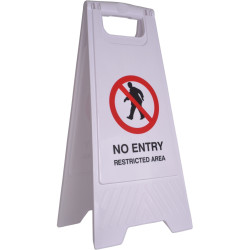 CLEANLINK SAFETY SIGN No Entry Restricted Area 32x31x65cm White