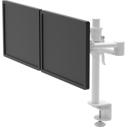 Pluto Dual Monitor Arm With Clamp Easily Adjust Arm Height White