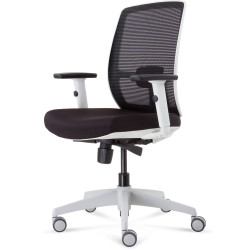 Luminous Mesh Back Task Chair With White Base and Arms Black Fabric Seat Black Mesh